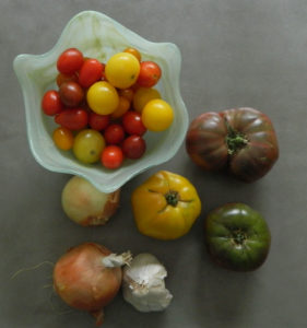 Heirloom tomatoes, onions and garlic