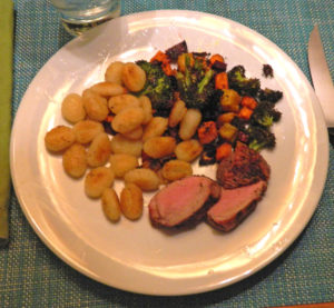 Dry Rubbed Pork Tenderloin with gnocchi and roasted vegetables