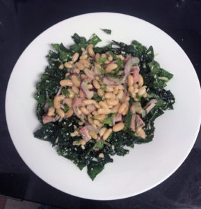 Flageolets, ham and kale salad