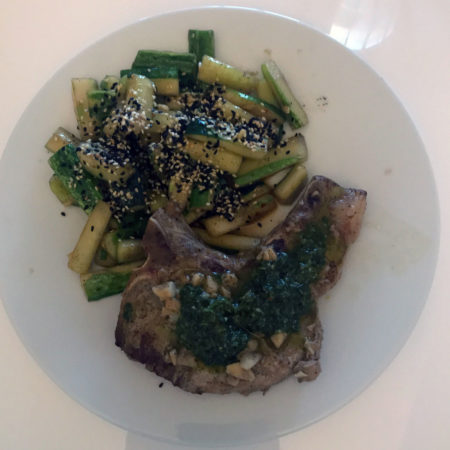 Pork Cutlets with Garlic and Herb Dressing and Smashed Chinese Cucumber Salad with Sesame Oil