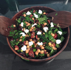 Summer Cherry, goat cheese and chick pea salad
