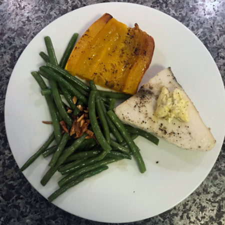 Swordfish with compound butter, delicata squash and haricot verts almandine