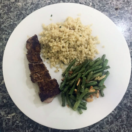 Blackened Pork Tenderloin, Yard Long Beans and Riced Cauliflower